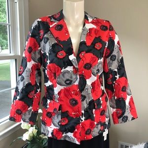 JOAN RIVERS jacket POPPIES bold RED/BLACK 4+GIFT
